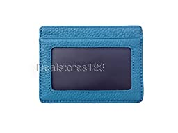 Dealstores123 - Slim Genuine Leather ID Wallet & Credit Card Holder Wallet * Sold only by Dealstores123 (Cyan Blue)