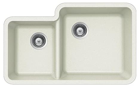 Houzer SOLIDO N-175 ALPINA Solido Series Undermount Granite Double Bowl Kitchen Sink, Alpina
