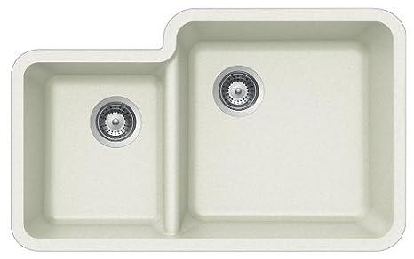 Houzer SOLIDO N-175 ALPINA Solido Series Undermount Granite Double Bowl Kitchen Sink, Alpina