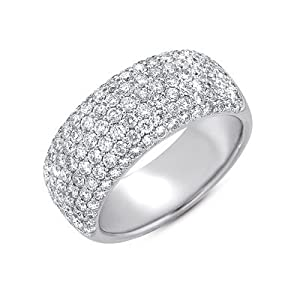 14k White Gold Diamond Pave Band Ring - JewelryWeb