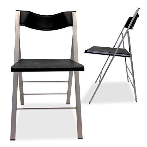 DESIGN Klappstuhl-Set Ultra-Slim, 2 Stück im Set, geklappt nur 8cm tief, UVP 179 EUR, Aktionpreis – 44% Farbe: schwarz