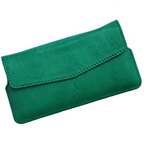 i-KitPit Quality PU Leather Pouch Case With Magnet Closure For Nokia Asha 501 (GREEN)