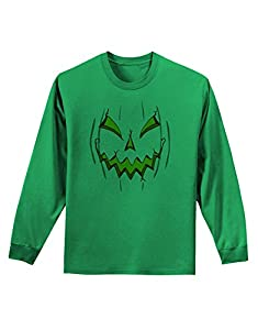Scary Glow Evil Jack O Lantern Pumpkin Adult Long Sleeve Shirt - Kelly Green - 4XL