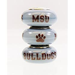 Mississippi State Bulldogs Fenton Glass Bead Fits Most Pandora Style Charm Bracelets