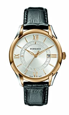 Versace Men's 'APOLLO' Swiss Quartz Stainless Steel and Leather Casual Watch, Color:Black (Model: V10040015)
