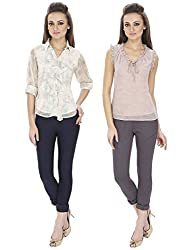 Lilium Combo Pack Of Sarah Frill Button Down  Blouse In Ivory Multi Color With Shirley Frill Blouse In Old Rose & Grey Color