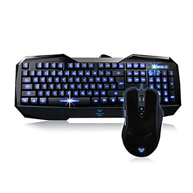 Guang Wired Gaming Keyboard & Mouse Kits Blue Backlit 2000Dpi
