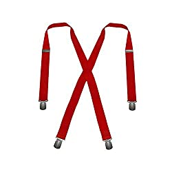 Men's Red, Regular Size - No Slip Hold - Twin Pin Clip Suspenders (up to 48in)