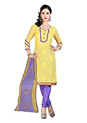 7 Colors Lifestyle Yellow Coloured Embroidered Chanderi Unstitched Dress Material