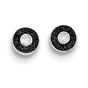 IceCarats Designer Jewelry Sterling Silver Black And White Diamond Round Post Earrings