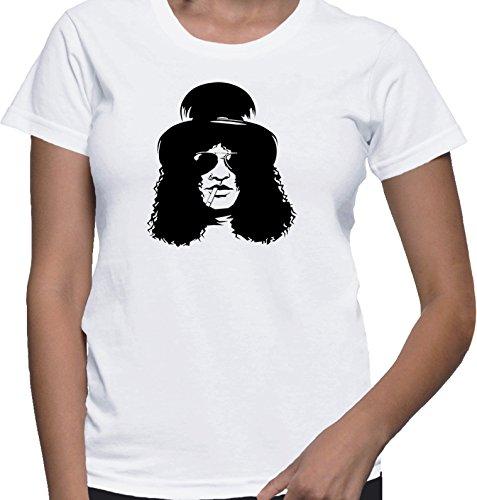 T-shirt da donna con Stile rock con slash dei guns n roses stampa. Girocollo. Medium, Bianca