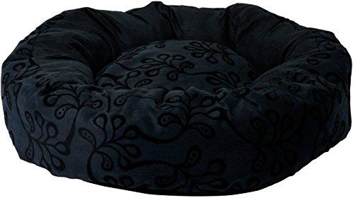 dobar-60500e-hundebett-floral-fur-kleine-hunde-katzenbett-rund-waschbar-schwarz