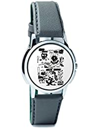 BigOwl Is It A Car Or A Cat Painting Analog Men's Wrist Watch 2114884526-RS1-W-GRY