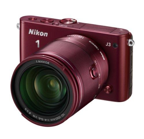 Nikon ミラーレス一眼 Nikon 1 J3 小型10倍ズームキット1 NIKKOR VR 10-100mm f/4-5.6付属 レッド N1J310ZKRD