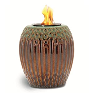 Pacific Decor Ribbed Porcelain Flame Pot, 5-Inch by 5-Inch by 6-Inch, Green/Brown