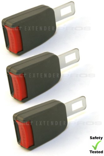 """3-Pack Mini Seatbelt Extension - Raises Buckle By 3"""" - Type B, Gray - E4 Safety Certified - Click & Go! front-190553"""