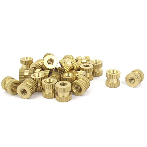 #8-32x8mm(L)x8mm(OD) Metric Threaded Knurl Round Insert Nuts 25 Pcs (8 32 Brass Inserts compare prices)
