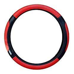 Vheelocityin Red And Black Ford Figo Aspire Steering Cover/Car Steering Cover