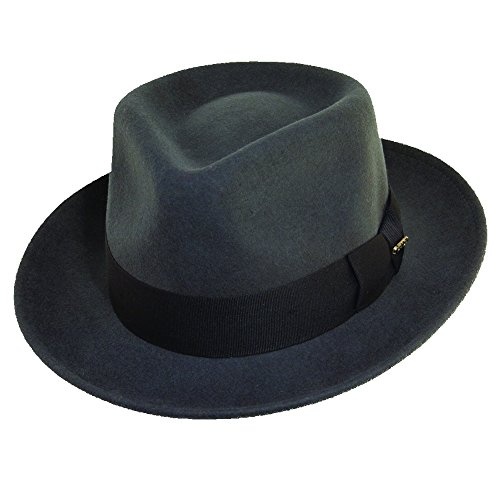 Scala Classico Men's Crushable Water Repelant Wool Felt Fedora Hat, Grey, Medium
