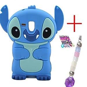 3D Stitch Silikon Handyschale+frei Handyanhänger für Samsung Galaxy S3 Mini i8190 (Blau)