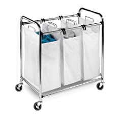 Honey-Can-Do SRT-01235 Heavy-Duty Triple Laundry Sorter Chrome/White