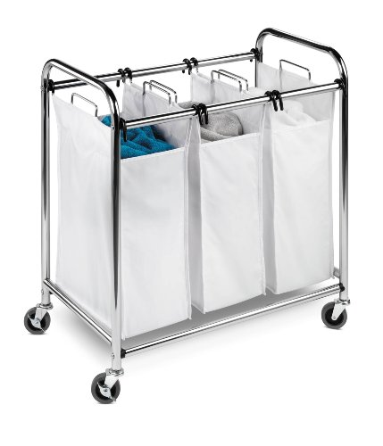Honey-Can-Do Heavy-Duty Triple Laundry Sorter, Chrome/White