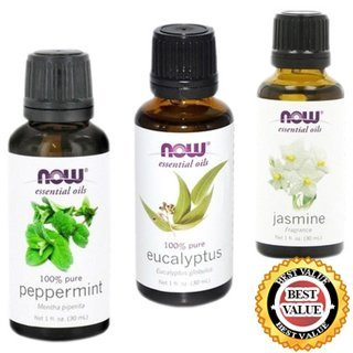 NATURAL Organic Aromatherapy Pure Therapeutic Grade NOW Foods Essential Oils Set. 3-pack of Jasmine, Peppermint, Eucalyptus. BEST for Balance, Healing, Relieve, Sleep, Weight Loss, Cooking, Purify Blends, Diffuser, Stress & Massage. Great Gift Ideas!