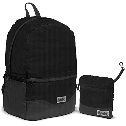 Foldable Backpack for Traveling and Outdoor Sports by Dot&Dot - Lightweight, Waterproof, Ultra Durable Nylon Knapsack with 2 Drink Bottle Compartments and Front Pocket - Best for School, Office | Black Packable Travel Bag for Clothes, Books, Notebooks, Laptops (Tickets Into The Great Wide Open compare prices)