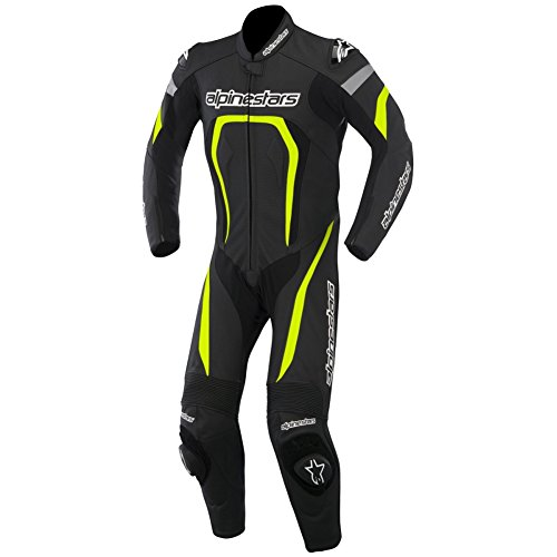 Alpinestars Motegi One Piece Leather Motorcycle Suit - Black/Yellow - 48