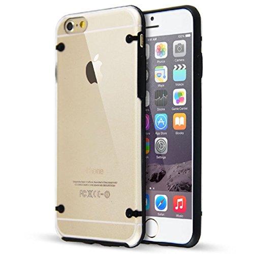 6 Case, iPhone 6 Case, SGM (TM) [Slim Hybrid] Case for iphone 6 4.7 [Clear Case] - iPhone 6 Bumper Case - With SGM (TM) Microfiber Cleaning Cloth (Black)