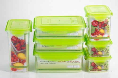 Kinetic Go Green Premium Nano Silver 14 Piece Food Storage Container Set (Includes Lids and Containers)