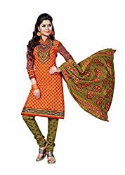 Aarti Apparels Women's Cotton Unstitched Dress Material_BeautyQueen-7_Green and Orange