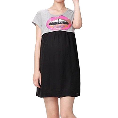 Maternity Nursing Women Chiffon Colorblock Short Sleeve Dress Size M