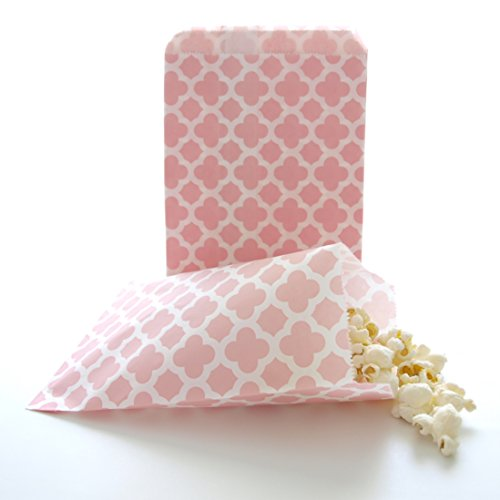 Princess Pink Paper Flower Party Favor Bags, Spanish Tile Design (25 Pack) - Girls Party Pinata Loot Bags, Summer Wedding Favor Sacks, Dessert Table and Candy Buffet Treat Bags (Custom Treat Boxes compare prices)