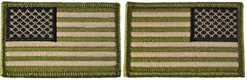 Tactical USA Flag Patch and Reverse USA Flag Patch - Multitan 2