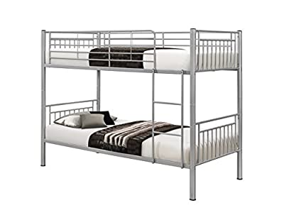 Birlea Rhodes 3ft Single Metal Bunk Bed, Silver