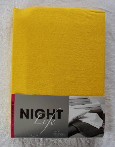 NightLife Jersey Spannbettlaken Farbe gelb sonnengelb Größe 180 x 190 bis 200 x 200 cm Spannbettuch Spannlaken mit Rundumgummi 100% Baumwolle