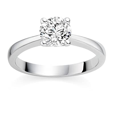 0.41 Carat D/VS1 Round Brilliant Certified Diamond Solitaire Engagement Ring in Platinum