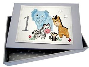white cotton cards SAF1T - Álbum de fotos de bebé (tamaño pequeño), diseño de primer cumpleaños y animalitos de safari por white cotton cards
