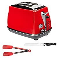 """De'Longhi Icona CTO 2003.R 2-Slice Toaster Bundle with 8"""" Tongs and 8"""" Forged Bread Knife"""