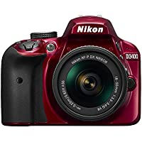 Nikon D3400 24.2 MP DSLR Camera with AF-P DX 18-55mm VR Lens Kit (Red) - Refurbished