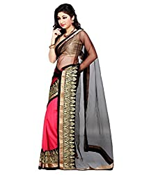 Bollywood Designer Pink And Black Georgette With Blouse Piece