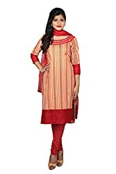 Beige and Maroon Cotton Unstitched Dress Material