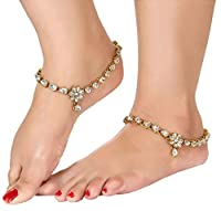 Shining Diva Gold Plated Kundan Payal Anklets For Girls & Women