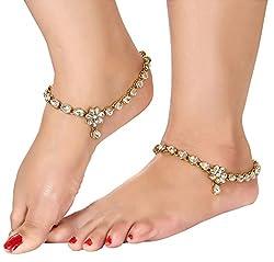 Shining Diva Gold Plated Kundan Payal Anklets For Girls & Women