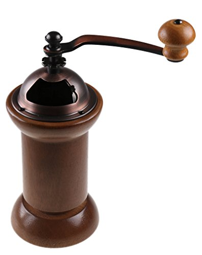 Premium Wood and Metal Manual Coffee Bean Grinder with Screw-In Grounds Container