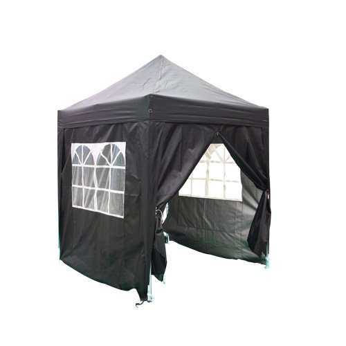 Quictent 2x2 Meter Black Pop Up Gazebo Canopy Silver-coated Waterproof With Sidewalls and Bag