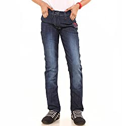 Menthol Girls Denim Lycra Jeans Pant (9-10 Years, Medium Denim)