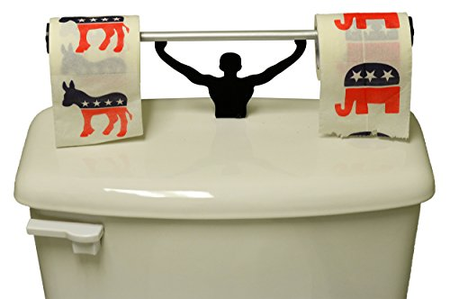 Fairly Odd Novelties Republicans and Democrats Party Logo Toilet Paper with Strong Man Holder Political Gift Set