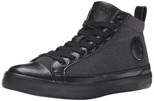 Polo Ralph Lauren Men's Clarke-SK-VLC Fashion Sneaker, Black/Black Heather Ripstop, 11.5 D US